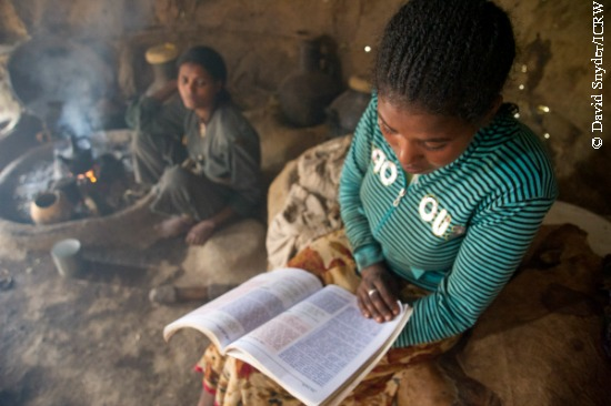 Ethiopian girl reading