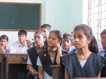 Girls and boys in a Delhi school