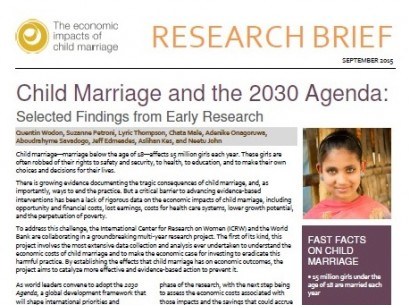 early marriage research paper Furthermore, early marriage is often linked to wife abandonment this plungers young girls into extreme poverty and increases the risk of her entering or being forced to enter, the commercial sex trade.